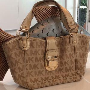 MK gold logo purse